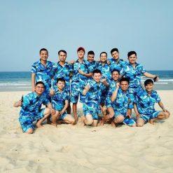 đồ bộ đi biển cây dừa màu xanh