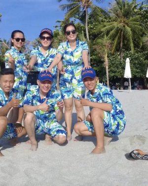 đồ bộ đi biển cây dừa nền trắng