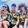đồ bộ đi biển cây dừa nền cam