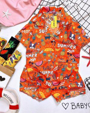 đồ bộ hello summer cam