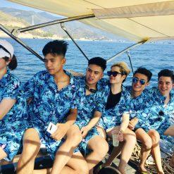đồ bộ đi biển họa tiết vẹt xanh