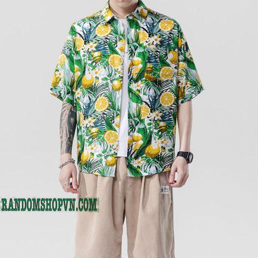 sơ mi trái chanh hawaii